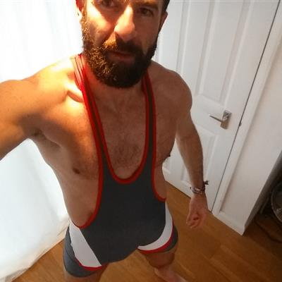 Feb, 2016's top guy SE15cker wearing Wrestling singlet Grey Wrestling 1